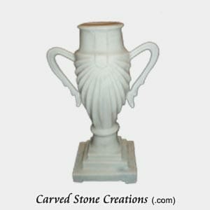 Honed Bianco Puro Vase Draped with Handles