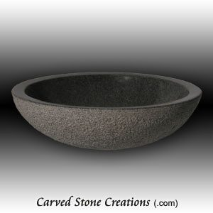 16.5in Charcoal Grey Bushammered Unrimmed Vessel Sink