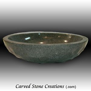 18in Charcoal Grey Faceted Unrimmed Vessel Sink