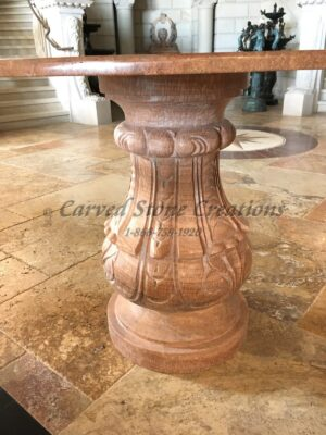 D45H33 Round Exotic Mahogany Onyx Table w/ Pedestal