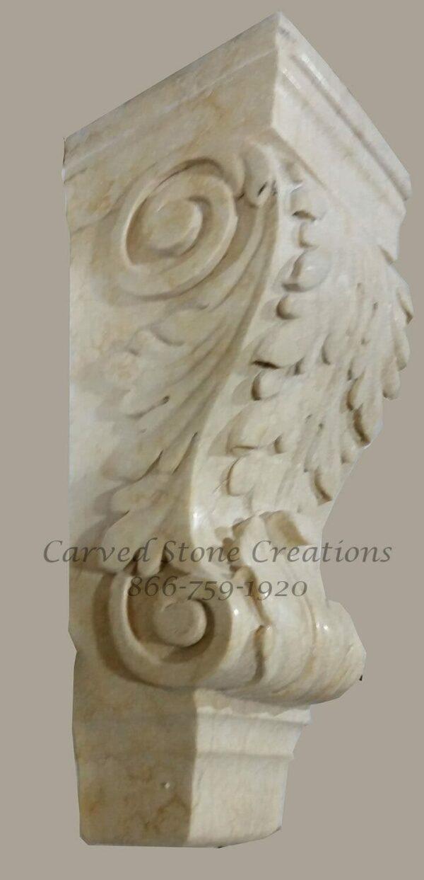 Acanthus Detail Corbel, 8x8xH20, Egyptian Yellow Limestone