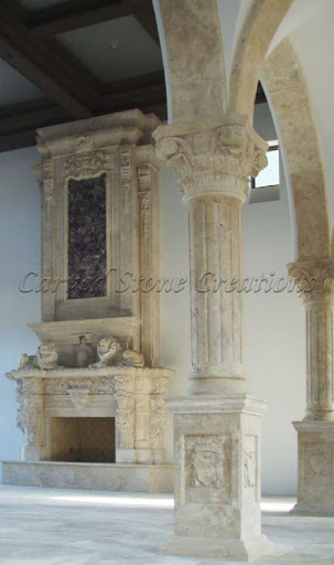 Handcarved fireplace