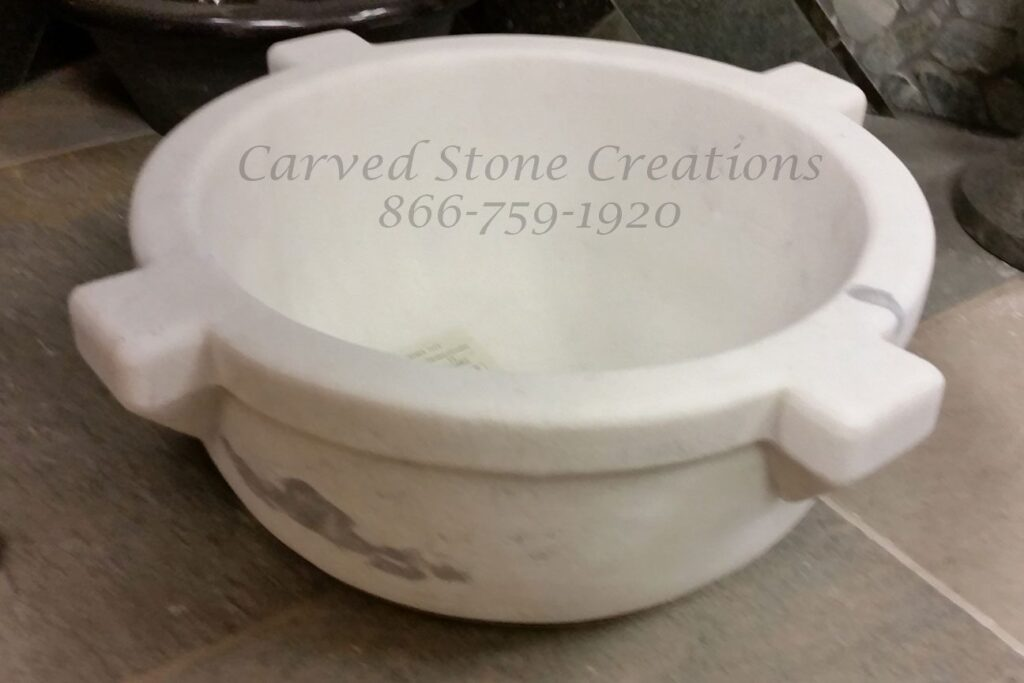 Carved Round Antique Vessel Sink, D16 1/2 X H7 1/2. Cumulus W