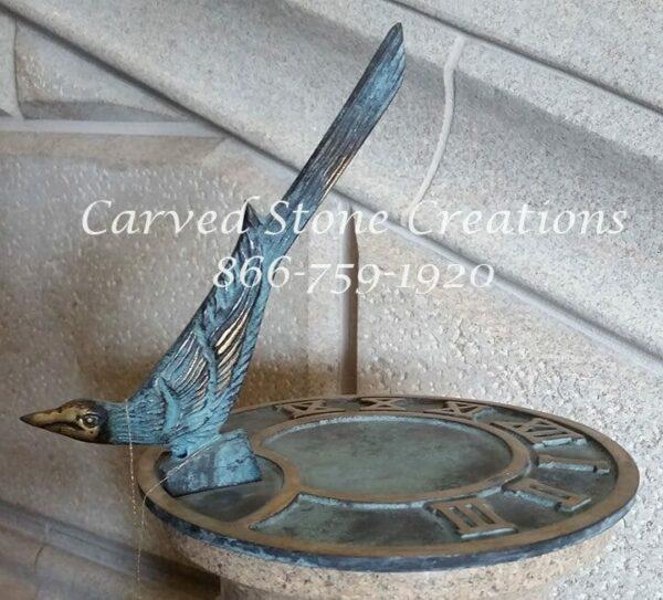 Classic Bird Sundial D7 Antique Brass