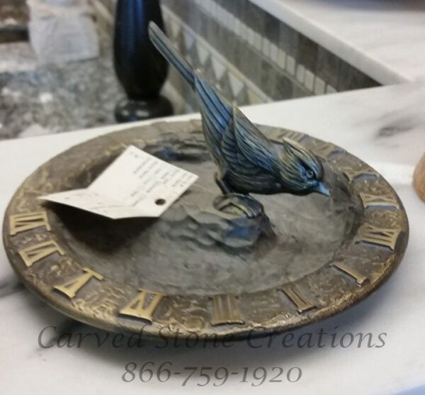 Cardinal Bird Feeder / Bird Bath Sundial D9 Antique Brass