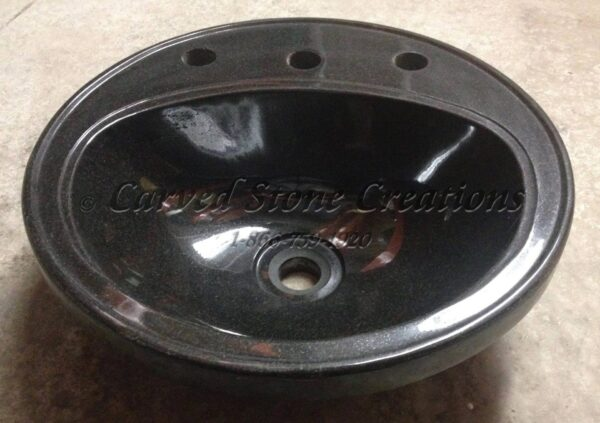 D16.5xH6 Absolute Black Rimmed Bar Sink W/Faucet Holes