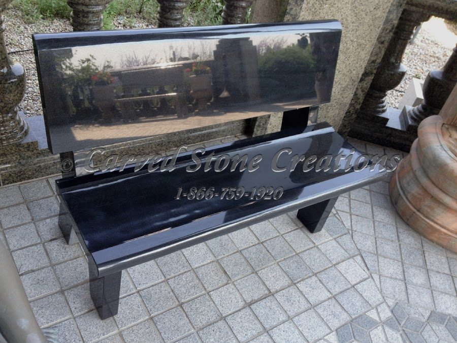 Black granite stone bench