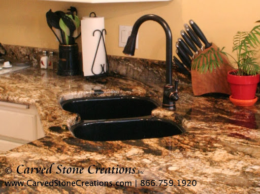 Black granite undermount sink