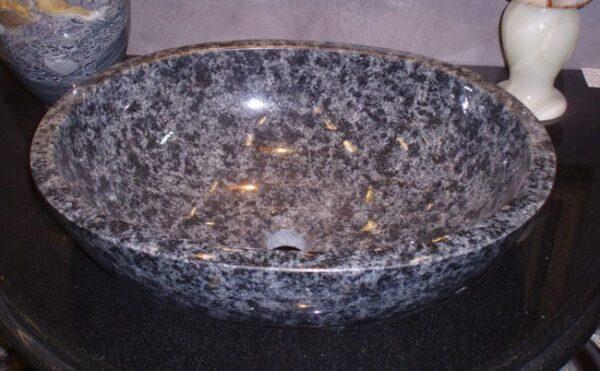 L18x15 Oval Unrimmed Sink, Black Cherry Granite