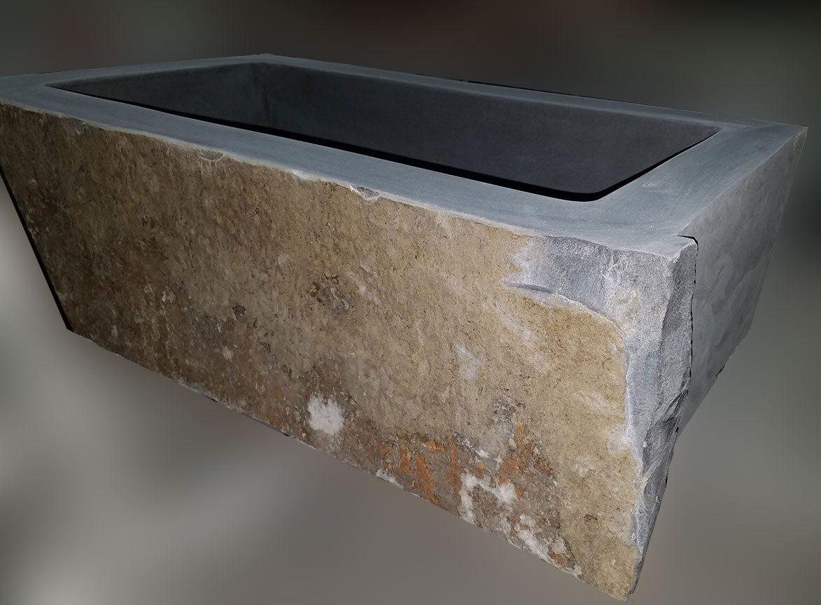 Natural Boulder Single Basin Deep Apron Sink Carved