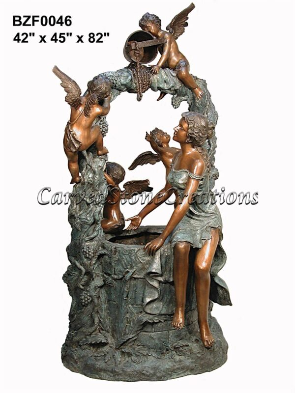 Lady Wishing-Well Fountain with Angels