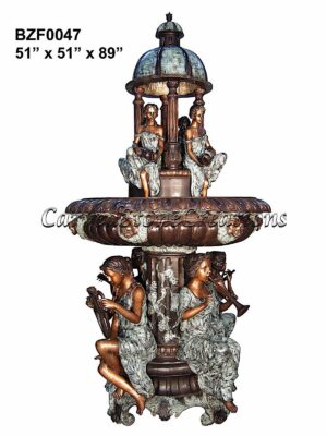 "Bronze Fountain, Ladies Playing Music with Domed Top. D51"" x H89"""