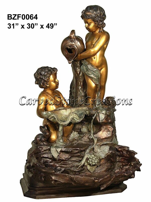 Bronze Cascade Fountain with Two Cherubs Pouring Water