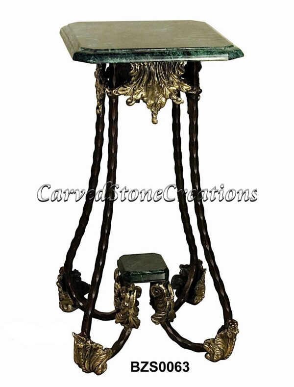 Decorative Bronze End Table with Marble Top