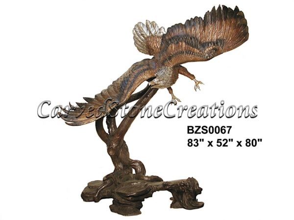 Eagle Swooping Left Over Branch