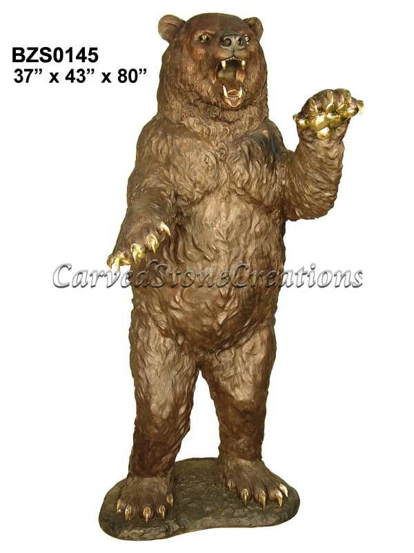 Bear Standing With Arms Close Carved Stone Creations