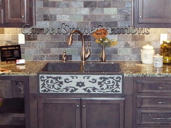 Carved kitchen sink