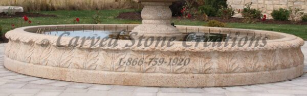 14' Round Carved Acanthus Surround, H14in, Giallo Fantasia Y gra