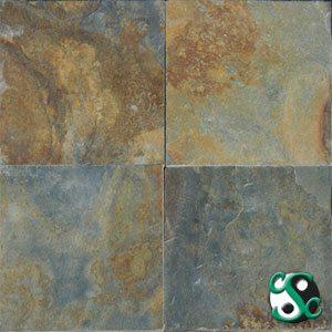 16×16 Golden Multicolor Slate Natural Cleft Tile