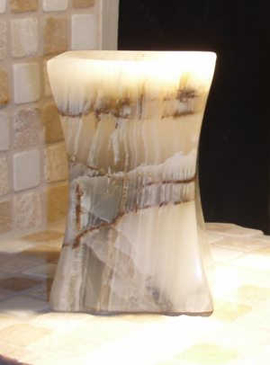 Square Concave Polished Green Onyx Candle Holder