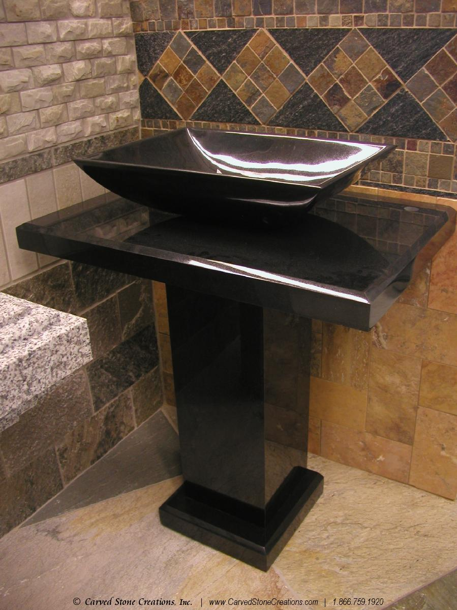 Black Granite Pedestal Sink