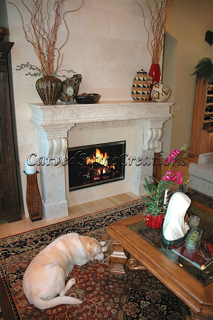 Custom stone fireplace design