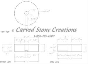 "Fountain Riser D39xH12"", Golden Cypress Granite"