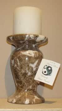 Polished Dark Emperador Marble Candle Holder