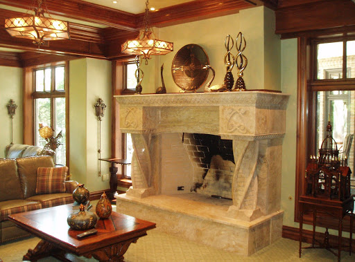 Twisted columns fireplace