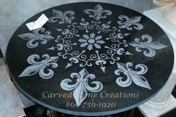 """Fleur de Lis Laser-Etched Black Table Top orFloor Medallion, made from Absolute Black Granite. Diameter 24"""" x 5/8"""" thick"""