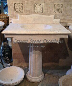 Florence Golden Orient Travertine Pedestal Sink