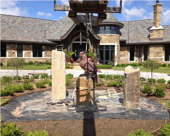 Large Basalt Fountain Installed
