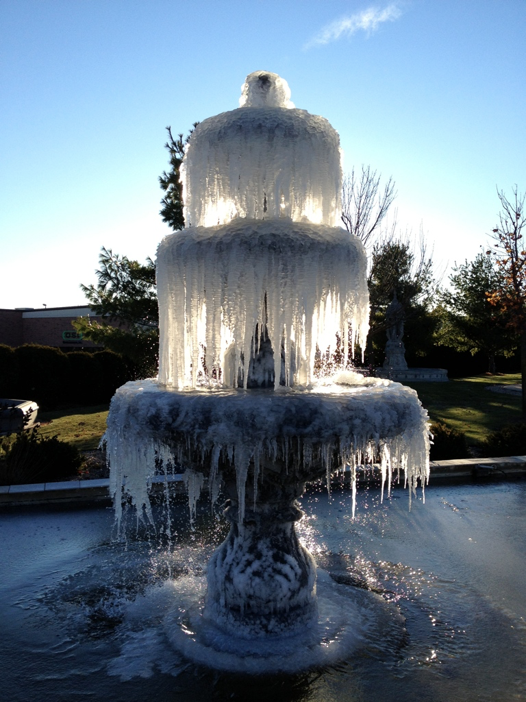 Frozen garden fountain