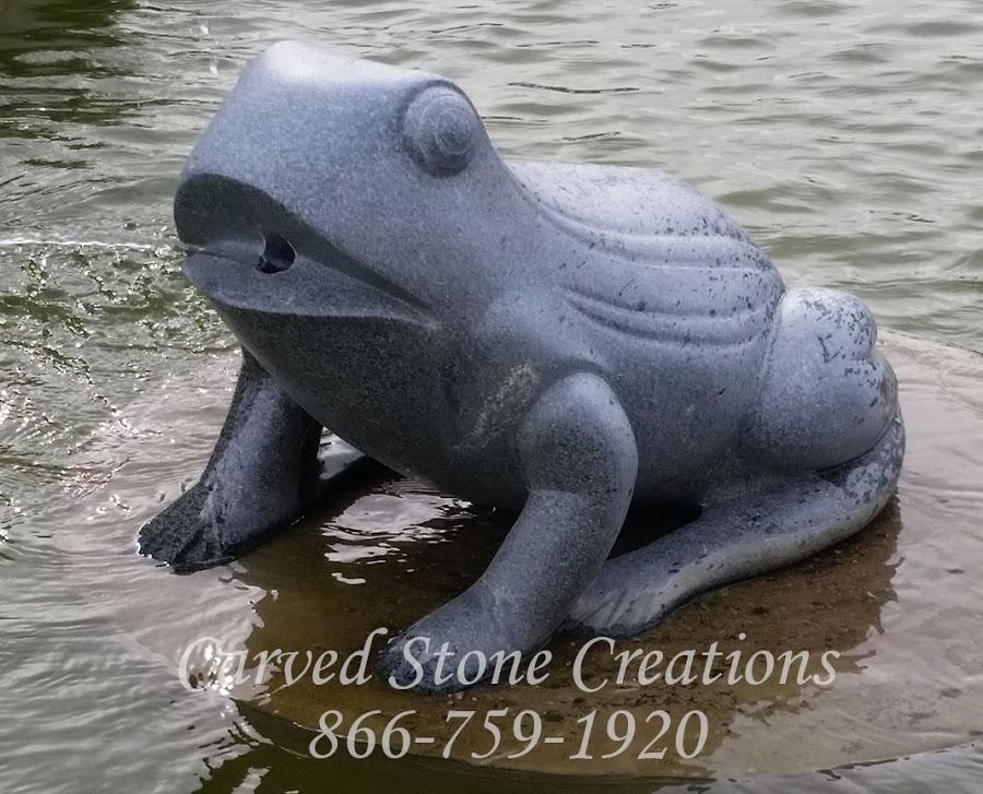 Granite frog fountain