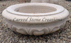 Carved Granite Planter, H20 x D28