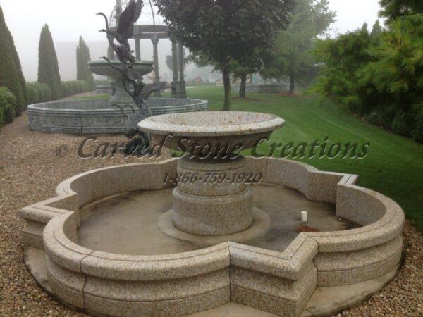 """Wide Urn Fountain, D60"""" x H44"""", Giallo Fantasia R Granite"""