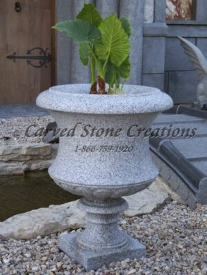 Tall Flared Victorian Urn Planter D24 X H31 California White Granite.