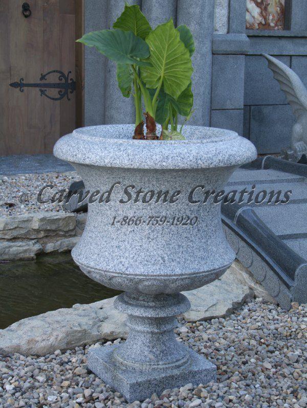 Tall Flared Victorian Urn Planter D24 X H31 California White Granite.
