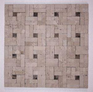 Classic/Dark Emperador Marble Tumbled Pinwheel Mosaic
