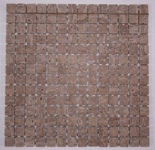 Tuscany Noce Travertine 3/4 Tumbled Classic Square Mosaic Tiles