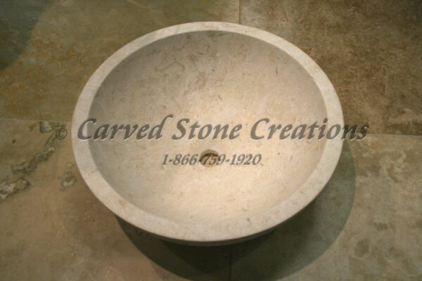 Crema marfil marble bushammered vessel sink carved stone for Travertine eye drops