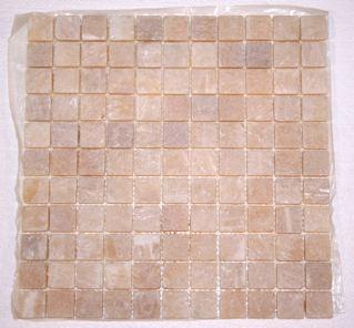 "Butterscotch Onyx 1"" Tumbled Classic Squares Mosaic"