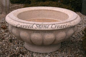 Carved Granite Planter, H36 x D16