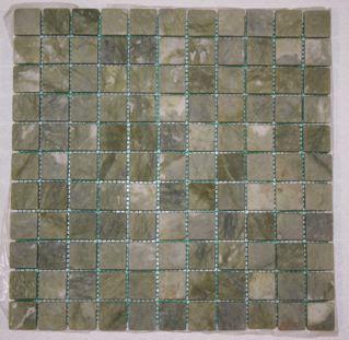 Veggie Green Marble Tumbled Classic Square Mosaic Tiles
