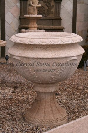 Carved Granite Planter, H39 x D36