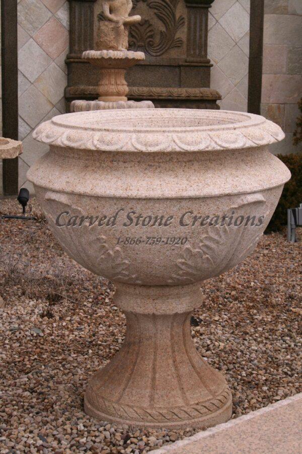 Carved Granite Planter, H39 x D36