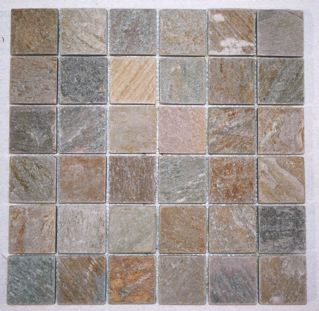Serengeti Gold Quartzite 2 Square Mosaic Tiles