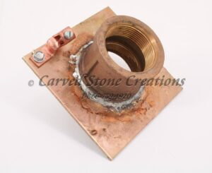 "1 1/2"" Brass Pool Drain Flange w/ Ground Post"