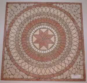 Mixed-Travertine Concentric Rings Mosaic, Square