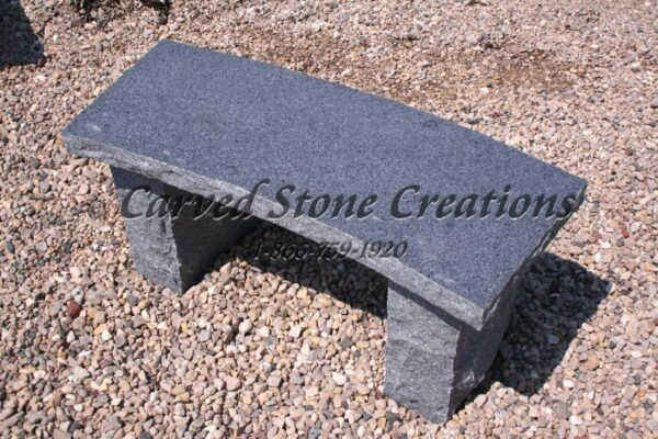 Rockface Curved Garden Bench, 4-FT Charcoal Grey